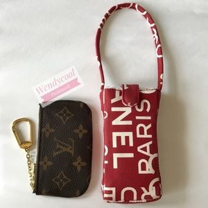 Chanel Red Monogram Key Pouch small Wristlet